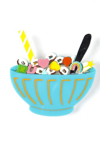Cereal Thriller - cereal bowl brooch