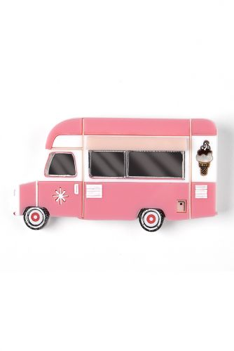 Keep on Truckin' Pink Ice Cream Truck brooch
