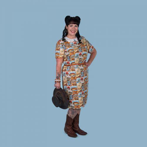 1950/60s inspired dress in Australian theme fabric