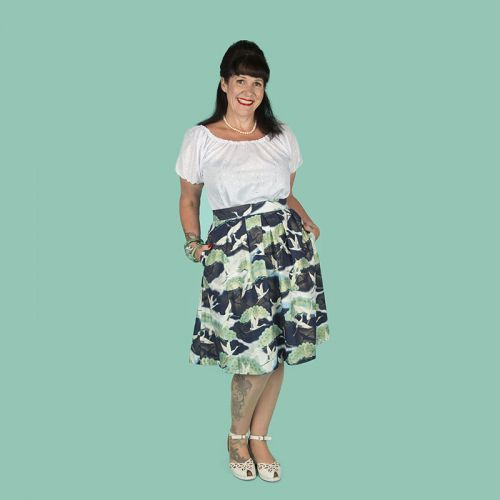 Cranes in flight blue/gold skirt with pockets