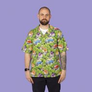 Campervans, retro, camping,Men's casual shirt (green)