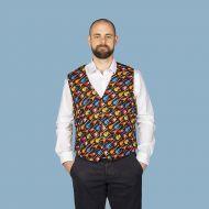 Electric guitar themed men's waistcoat vest black