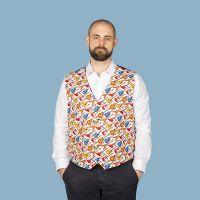 Electric guitar themed men's waistcoat vest white