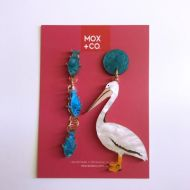 Pelican with Fish dangle earrings