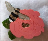 Honey Bee brooch (pink flower)